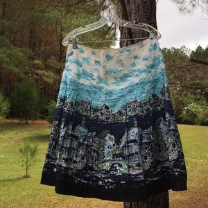 Talbots Printed Cotton A- Line Skirt